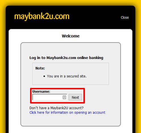 Maybank ユーザーネーム入力